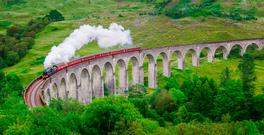The Glenfinnan viaduct, as featured in the movie versions of Harry Potter, by JK Rowling