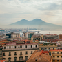 View of Mount Vesuvius over Naples, Italy