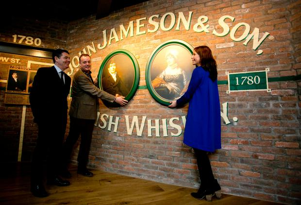 Minister for Public Expenditure and Reform Paschal Donohoe with Ray Dempsey, General Manager, Jameson Distillery Bow St and Claire Tolan, Managing Director Brand Homes & Education, Irish Distillers.