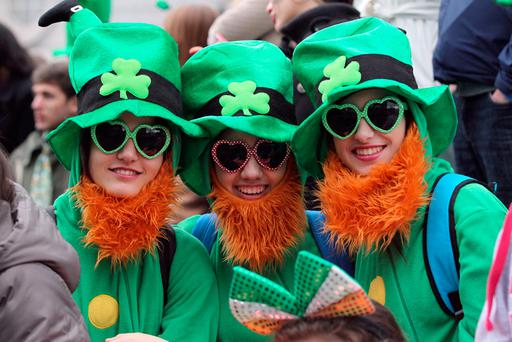 Spectators at the St Patrick's Day parade in Dublin Photo: PETER MUHLY/AFP/Getty Images