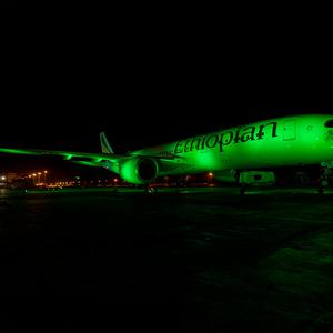 An Ethiopian Airlines Airbus in Addis Ababa (Ethiopia) joins Tourism Ireland's Global Greening initiative, to celebrate the island of Ireland and St Patrick.