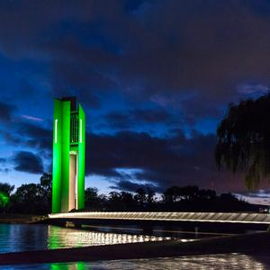The National Carillon in Canberra (Australia) joins Tourism Ireland's Global Greening initiative, to celebrate the island of Ireland and St Patrick.