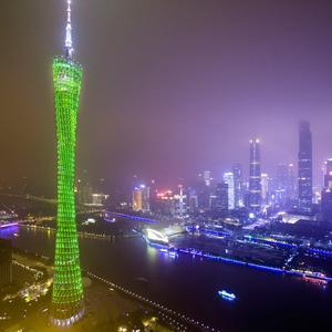 The Canton Tower in Guangzhou (China) joins Tourism Ireland's Global Greening initiative, to celebrate the island of Ireland and St Patrick.