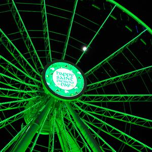 The Centennial Wheel at Navy Pier in Chicago, illuminated in green as part of Tourism Ireland's Global Greening initiative, to celebrate the island of Ireland and St Patrick.