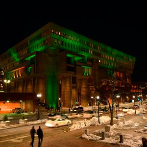 City Hall in Boston goes green