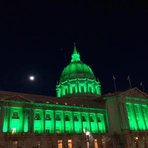 City Hall in San Francisco, illuminated in green as part of Tourism Ireland's Global Greening initiative, to celebrate the island of Ireland and St Patrick.