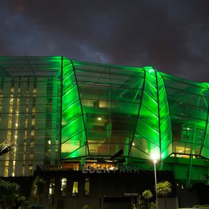 Eden Park in Auckland, New Zealand – which is synonymous with rugby and the All Blacks and is New Zealand's largest and most iconic sports stadium – joins Tourism Ireland's Global Greening initiative, to celebrate the island of Ireland and St Patrick. Pic – Frances Oliver
