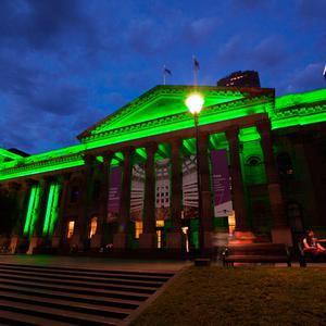 The State Library of Victoria in Melbourne (Australia), joins Tourism Ireland's Global Greening initiative, to celebrate the island of Ireland and St Patrick.