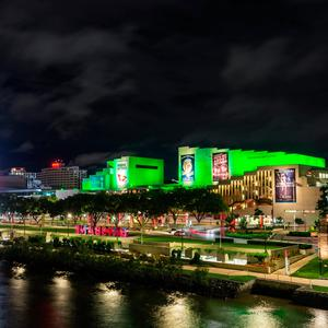 The Queensland Performing Arts Centre (QPAC) in Brisbane (Australia) joins Tourism Ireland's Global Greening initiative, to celebrate the island of Ireland and St Patrick. Pic – Tourism Ireland