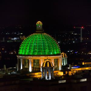 The Trafford Centre in Manchester joins Tourism Ireland's Global Greening initiative, to celebrate the island of Ireland and St Patrick. Pic – Jon Super