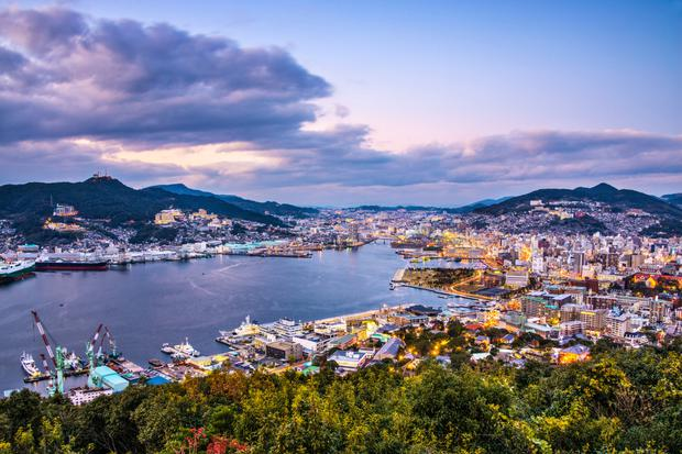 The city of Nagasaki is in Kyushu - the large southernmost Japanese island