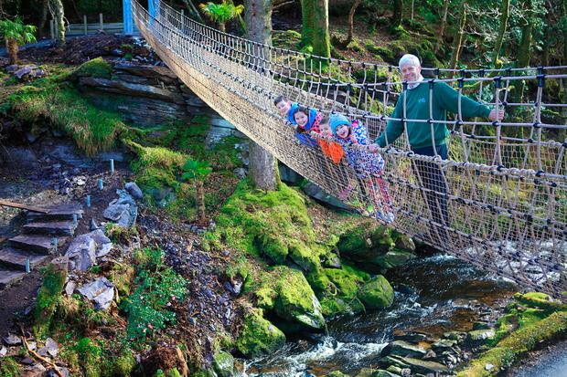 Billy Alexander of Kells Bay House and Gardens with Pupils from Filemore National School, Co Kerry, Emma O'Connor (7), Donagh Sugrue (11), Meadh O'Sullivan (9), Enda Sheehan (9), the first children to try 'The Skywalk' - Ireland's Longest Rope Bridge. Photo:Valerie O'Sullivan