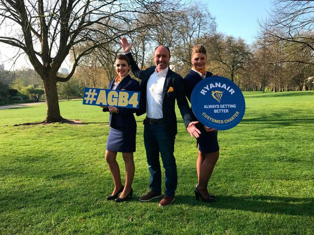 Kenny Jacobs (centre), Ryanair's Chief Marketing Officer, launches Always Getting Better Year 4