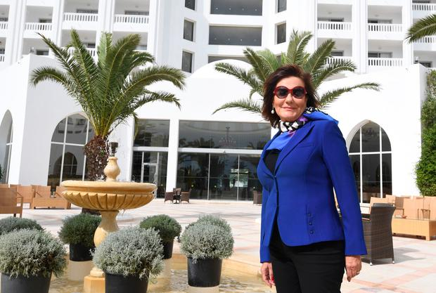 Zohra Driss, owner of the Imperial Merhaba Hotel poses outside the venue in Port el-Kantaoui, on the outskirts of Sousse south of the capital Tunis on April 21, 2017. Photo: FETHI BELAID/AFP/Getty Images