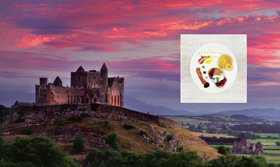 Rock of Cashel (Photo: Tourism Ireland) with Kevin Thornton's Tipperary Breakfast (insert).
