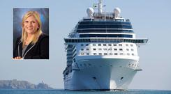 Celebrity Eclipse cruise arriving into Dublin (Photo: Conor McCabe) with Lisa Lutoff-Perlo, the Celebrity Cruises CEO & President (inset).