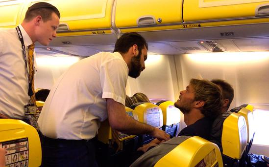 Francois Colussi (right) on board the Ryanair flight