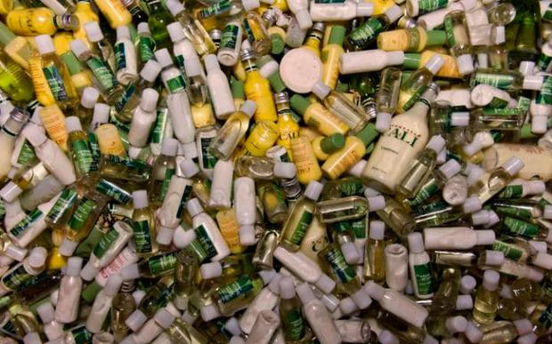 Many of the half-empty bottles find their way into landfill sites Credit: CLEAN THE WORLD