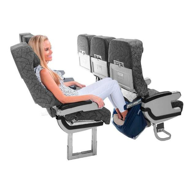 Fly LegsUp device allows travellers to rest their legs in various angles to suit their comfort level. Credit: Fly LegsUp