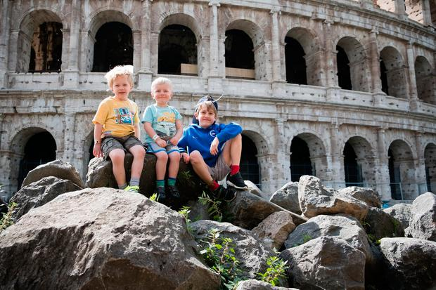 Dylan, Alex and Oscar outside the Colosseum in Rome. PA Photo/Warren Chrismas.