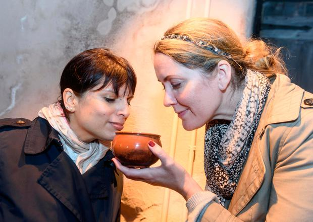 Pictured sampling spices at the Youghal ClockGate Tower are US journalists Jessica Benavides Canepa, New York and Leslie Patrick Moore, California. Picture: John Sheehan Photography.