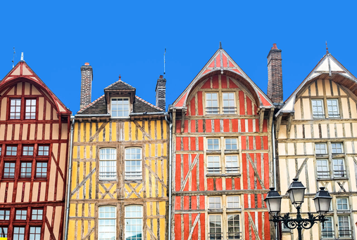 Half-timbered buildings in Troyes. Photo: Deposit