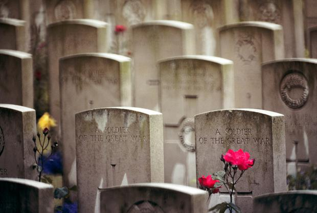 Soldiers' graves at Flanders Field. Photo by Camerique/ClassicStock/Getty Images