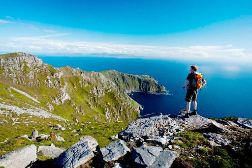 Looking towards Bunglass from the summit of Slieve League. Photo: Gareth McCormack, from Ireland's Wild Atlantic Way –A Walking Guide by Helen Fairbairn (The Collins Press, 2016)