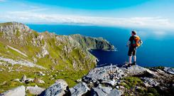 Looking towards Bunglass from the summit of Slieve League. Photo: Gareth McCormack, from Ireland's Wild Atlantic Way – A Walking Guide by Helen Fairbairn (The Collins Press, 2016)