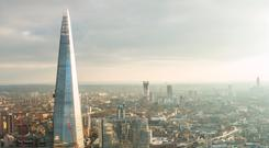An aerial view of London with The Shard. Photo: Deposit