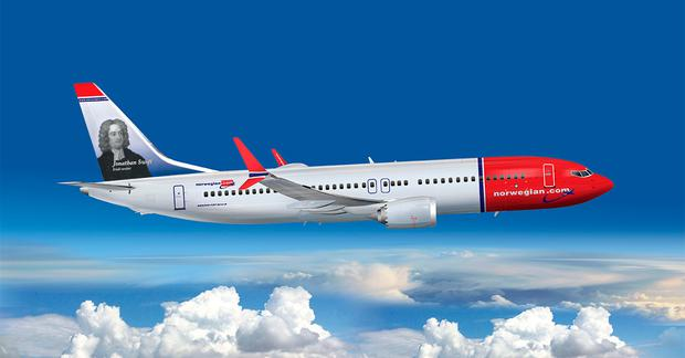 Norwegian's 787-MAX featuring Jonathan Swift as a 'tail fin hero'