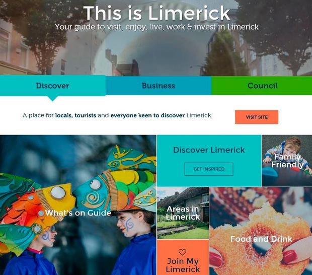 A screengrab of the Limerick.ie home page