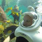 Underwater spaceman.... David experiences life with the fish of the Atlantic Ocean at Grand Reef, one of the top attractions at Discovery Cove, near Orlando