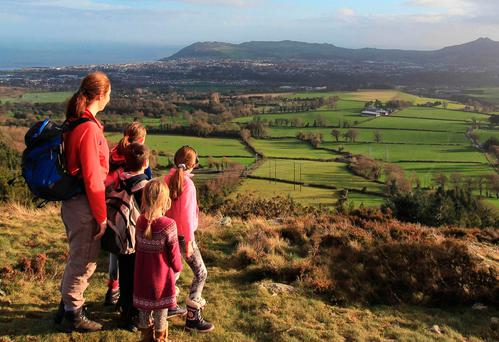 Looking toward Bray Head and Little Sugar Loaf from the summit of Carrickgollogan, From 'Family Walks Around Dublin – A Walking Guide', by Adrian Hendroff, Collins Press, 2017. See 'Explore Ireland's Mountains' at adrianhendroff.com.