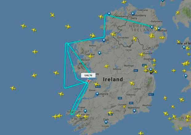 In 2016, a United Airlines flight from Belfast to Newark made an emergency diversion to Shannon Airport. Pic: Flightradar24.com
