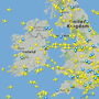 Flightradar24.com's view of Ireland and the UK at 10.53am on August 23, 2017. Screengrab: Flightradar24.com.