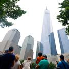 911 Memorial, New York, overlooked by the 'Freedom Tower'