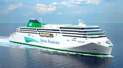 Irish Ferries' new €144m cruise ferry (artist's impression from front)