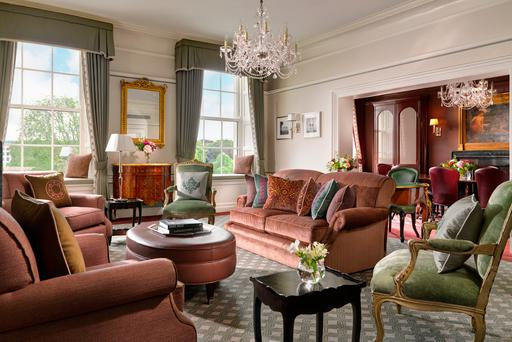 The lounge in The Shelbourne's Princess Grace Suite