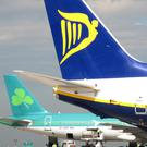 Ryanair and Aer Lingus planes. Photo: PA (Stock)