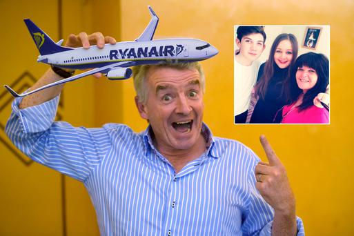 Ryanair's CEO Michael O'Leary poses during a press conference on June 27, 2017 in Rome (Getty). Inset: Delara Oguzhan, whose Christmas flights with the airline were cancelled, and family.