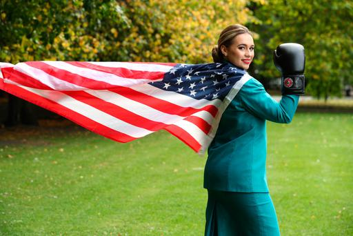 Pictured striking her 'Rocky' pose, from the film synonymous with Philadelphia City, was Mae McGreevy, Aer Lingus Cabin Crew. Picture Jason Clarke