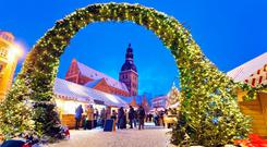 The entrance to the Christmas Market in Riga's Old Town.