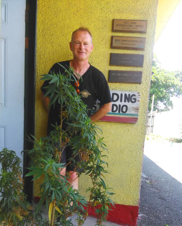 Shane at the door of Tuff Gong. He didn't inhale