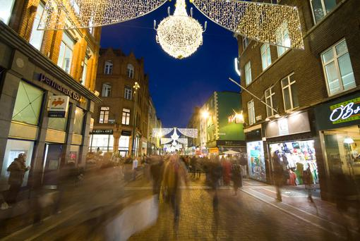 Grafton Street bustling with Christmas Shoppers. Photo: VisitDublin.com