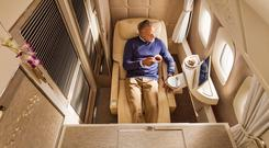Emirates First Class cabin - with seats in 'Zero Gravity' mode
