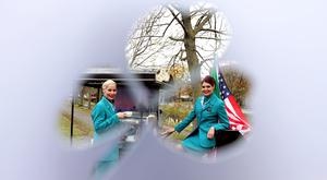 Aer Lingus cabin crew and sisters Laura and Melissa Stapleton at the announcement of its Seattle route. Picture Jason Clarke