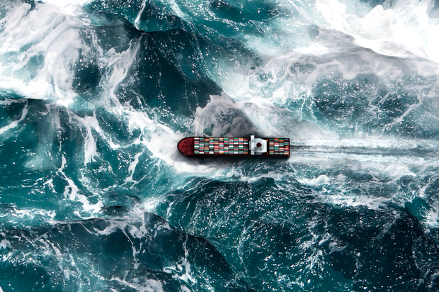 Container ships have to brave some of the world's worst weather. Photo: Getty