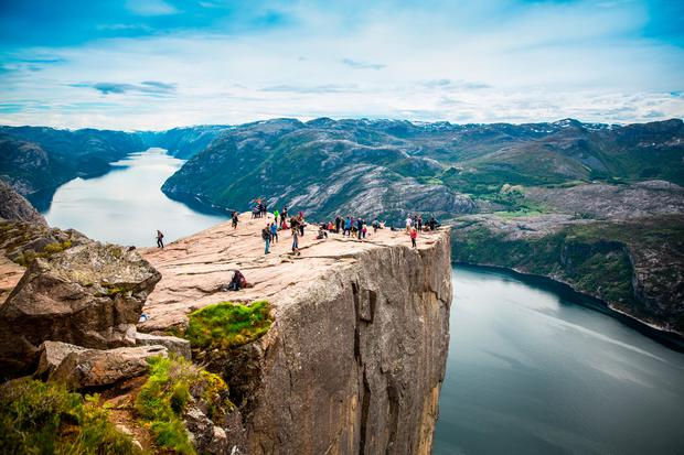 NORWAY: Preikestolen or Prekestolen, also known as Preacher's Pulpit or Pulpit Rock, in Norway.