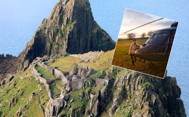 The view of Skellig Michael from a helicopter (photo: Valerie O'Sullivan), with Erin McCafferty (inset).